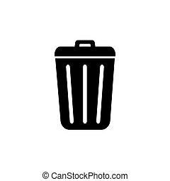 Trash icon in trendy flat design.