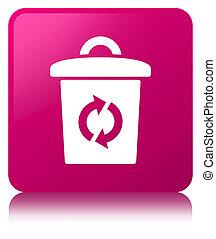 Trash icon pink square button
