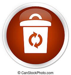 Trash icon premium brown round button