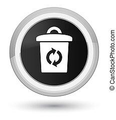 Trash icon prime black round button