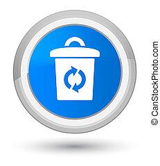 Trash icon prime cyan blue round button