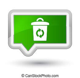 Trash icon prime green banner button