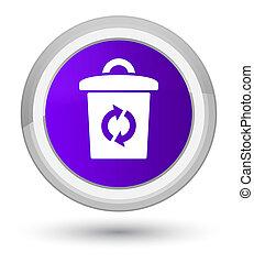 Trash icon prime purple round button