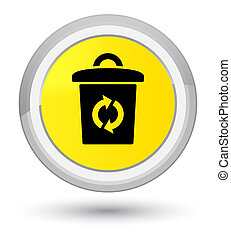 Trash icon prime yellow round button