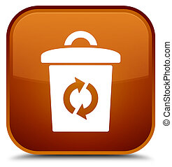 Trash icon special brown square button