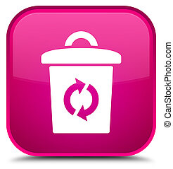 Trash icon special pink square button