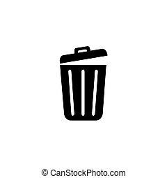 Trash icon trendy flat design.