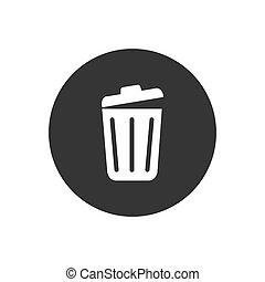Trash icon trendy flat design. Vector flat style