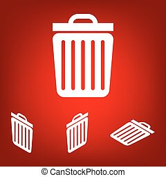 Trash icon. Vector illustration set