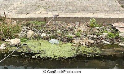 trash in river - trash, plastic bottles in river