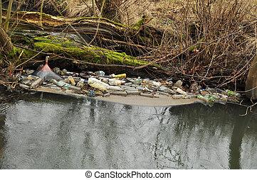 trash in the river