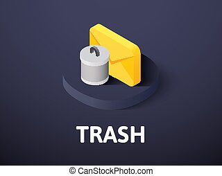 Trash isometric icon, isolated on color background