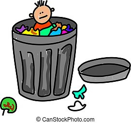 trash kid - little boy hiding in a trash can isolated on...