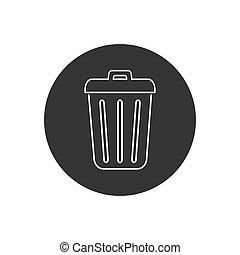 Trash line icon in trendy flat design. Vector