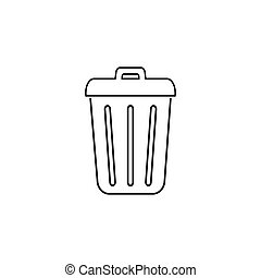 Trash line icon in trendy flat design. Vector modern style
