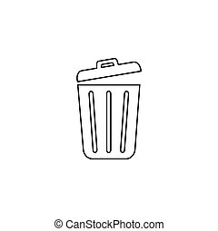 Trash line icon trendy flat design. Vector