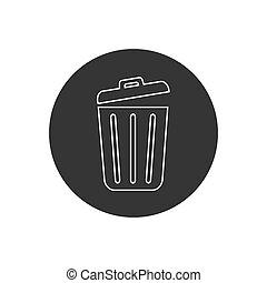 Trash line icon trendy flat design. Vector modern flat style