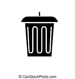 trash - office bin icon, vector illustration, black sign on isolated background