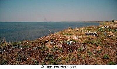 Trash on beach. Shot Syvash lake, Ukraine - Trash on beach....