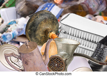 Trash on junk yard - Old rusty garbage trash objects thrown...