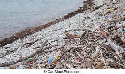 Trash on the beach - Black sea, Russia
