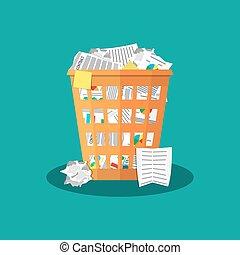 Trash Recycle Bin Garbage Flat Vector Illustration