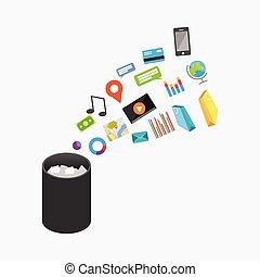 Trash Recycle Bin Garbage Illustration. Deleting document or file.