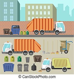 Trash recycling and removal. Illustration of trucks...
