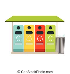 Trash recycling containers, rubbish bins row, waste...