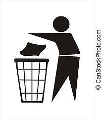 figure of person throwing garbage into a trash can vector