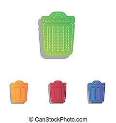 Trash sign illustration. Colorfull applique icons set.