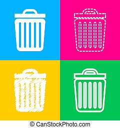 Trash sign illustration. Four styles of icon on four color squares.
