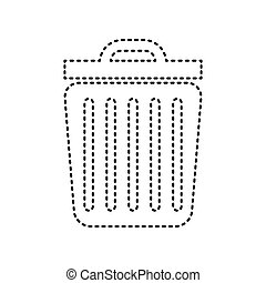 Trash sign illustration. Vector. Black dashed icon on white background. Isolated.