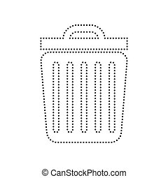 Trash sign illustration. Vector. Black dotted icon on white background. Isolated.