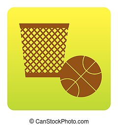 Trash sign illustration. Vector. Brown icon at green-yellow gradient square with rounded corners on white background. Isolated.