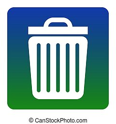 Trash sign illustration. Vector. White icon at green-blue gradient square with rounded corners on white background. Isolated.