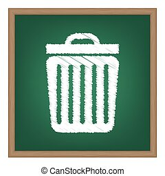 Trash sign illustration. White chalk effect on green school board.