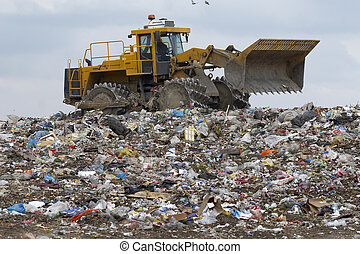 trash - overview of refuse collection with bulldozer