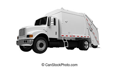isolated white trash truck on a white background