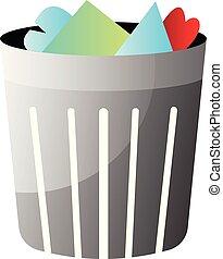 Trashbin with trash inside vector illustration on a white background