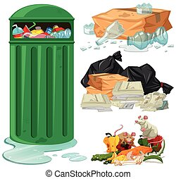 Trashcan and different types of trash