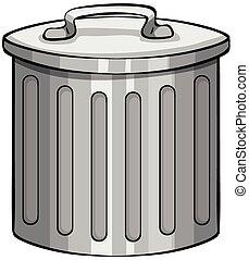 Trashcan - Close up tin trashcan with lid