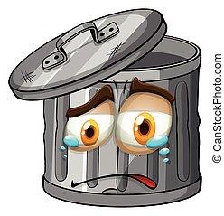 trashcan, com, chorando, rosto