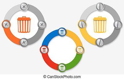trashcan, cornici, set, colorato, tre