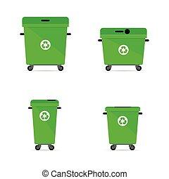 trashcan, hergebruiken, groene, illustratie