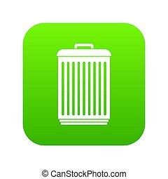 Trashcan icon digital green
