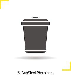 Trashcan icon. Drop shadow silhouette symbol. Dustbin. Trash...