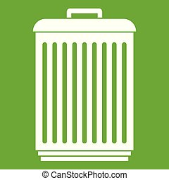 Trashcan icon green - Trashcan icon white isolated on green...