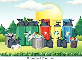 Trashcan in different color in the park illustration