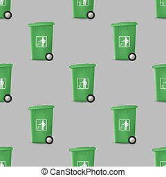 trashcan, modèle, vert, seamless, plastique